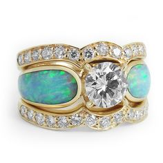 Opal and Diamond Engagement Ring with 2 Diamond Enhancer Rings #bridaltransformed