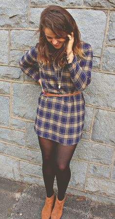 Gold and Blue Flannel Dress
