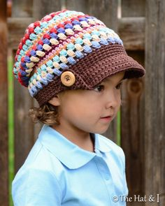 CROCHET PATTERN - World Traveler Slouchy - crochet slouchy hat with stripes, visor in 3 sizes (Toddler, Child, Adult) - Instant PDF Download