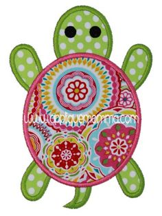 Turtle 2 Applique Design     Comes in a satin and zigzag version in sizes for the 4x4 hoop, 5x7 hoop,6x10 hoop and 8x11 hoop.    Formats Included: ART, DST, EXP, HUS, VIP, XXX, JEF, PES, SEW,VP3