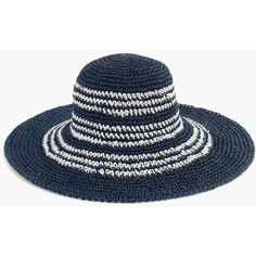 J.Crew Striped Straw Hat (£42) ❤ liked on Polyvore featuring accessories, hats, straw hat, stripe hat, foldable straw hat, striped hat and j crew hat