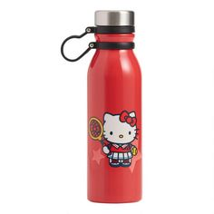 Featuring the beloved Hello Kitty in her sporty tennis outfit with racket, ball and bow, our exclusive stainless-steel water bottle is ready to hit the court.