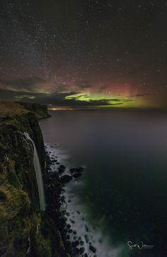 Kilt Rock Aurora on the Isle of Skye, Scotland.