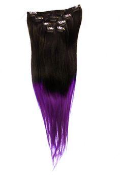 """Liukuvärjätty Clip-on Aitohiuspidennys 5-os 80g 20"""" -Black/Purple Slide"""