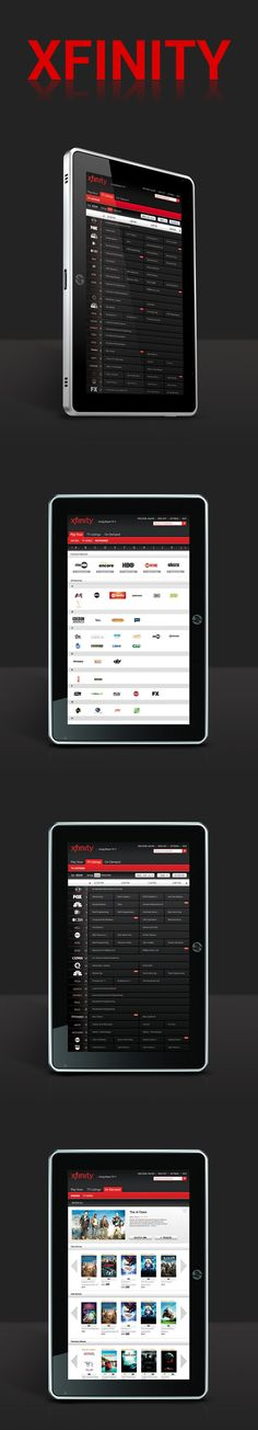 XFINITY Tablet App by Natali Arocha *** This Windows 7 Tablet user interface was created for Comcast's Xfinity application to be demoed at CES for 2011. The app consists of highlighting Comcast's customers' desires to experience OnDemand entertainment with even greater convenience. My role was to analyze the needs and provide UI/UX solutions. Some of my tasks involved wireframing, architecture flow, visual design, and client facing presentations.