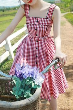 Sweet Square Neck Tiny Red Plaid Printed Flare Midi Dress For Women Vintage Dresses