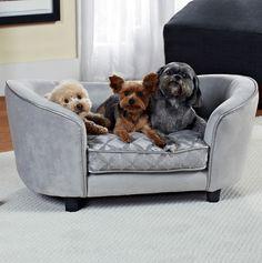 Plush Pet Sofa Dog Bed in Gray