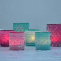 Coloured And Powdered Candle Holders - candles