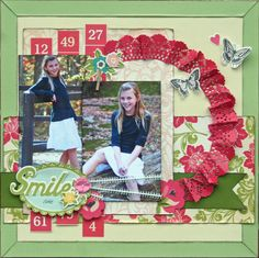 Bright & Colorful Smile Page...with folded lacy circle...Scrapbook.com.