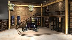 The height of the maisonette enhances the spacious space. And the American industrial style background, retro red brick wall with metal steel frame and large book shelves set the tone of the environme Virtual Studio, Red Brick Walls, Red Bricks, Steel Frame, Tvs, Industrial Style, In The Heights, This Is Us, Space