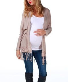 995deda3c PinkBlush Maternity Mocha Crocheted Accent Maternity Cardigan - Women
