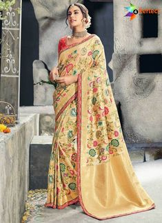 de1c74d04a34d Avail this boosted pastel mustard worked saree set with bud and flower print  online. This sari set hold half sleeves
