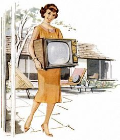 Are you friggin kidding me??  Do you know how heavy that old TV was???? 1950's Portable