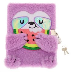 Claire's Sophie The Sloth Lock Plush Diary - Purple Justice Accessories, Claire's Accessories, Apple Watch Original, Unicorn Fashion, Sequin Backpack, Cute Notes, Cute Notebooks, Cute School Supplies, Stationery Set