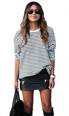 My favorite clothing items are those that can be dressed up or down. This striped, long sleeve blouse is just what I mean. Wear it with a skirt and boots, or jeans and flats for a casual look. Give it a more professional feel by styling it with a dark pair of leggings. It's made of a breathable cotton blend and is designed to have a loose fit, so it's sure to be comfortable. Add an infinity scarf in a solid color to add an extra touch of chic. Stripes never go out of style!