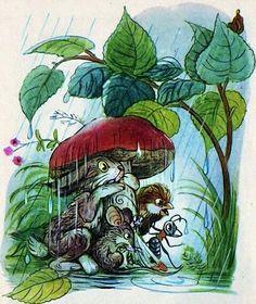 Stories and pictures (Engl.), Betisorul nazdravan, V. Mushroom Drawing, Mushroom Art, Forest Art, Postcard Art, Kids Story Books, Typography Prints, Illustrations And Posters, Children's Book Illustration, Kawaii