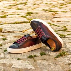 Custom Made Trainers in Raw Crust Italian Leather with a Burgundy and Grey Hand Patina Finish. Create your own custom designed shoes. Custom Made Shoes, Custom Design Shoes, Men's Shoes, Dress Shoes, Classic Man, Italian Leather, Calf Leather, Designer Shoes, Trainers