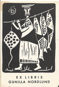 EXLIBRIS BOOKPLATE 1960s SCANDINAVIA FISH FISHERMAN 11X8CM EF 59