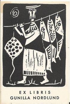 EXLIBRIS BOOKPLATE 1960s SCANDINAVIA FISH FISHERMAN 11X8CM EF 59