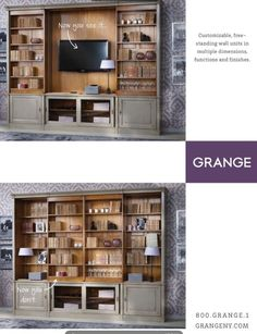 "Previous pinner: ""Love this hidden TV idea from Grange Furniture. think width is roughly 153"", height is 78"", depth is 14"" "" -- SH: This particular photo is no longer shown at the Grange site that I can find, but URL changed to supplier's. See more lovely Grange modular options here: http://knightmovesblog.blogspot.com/2013/07/media-cabinet-unit-solutions.html and here: https://www.pinterest.com/grangefurniture/modular-wall-units/"