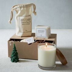 From Brooklyn with love. Featuring soaps and candles crafted in small batches, the Apotheke Gift Set makes a thoughtful gift this holiday season. Created from steam-distilled essential oils, this set contains no preservatives, petroleum or parabens. Candle Branding, Candle Packaging, Soap Packaging, Candle Craft, Candle Box, Candle Jars, Candle Labels, Homemade Candles, Diy Candles