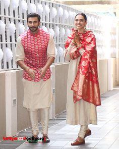 Finally Mr And Mrs Bhavani – Ranveer Singh And Deepika Padukone Arrive In India Wedding Kurta For Men, Wedding Dresses Men Indian, Indian Bridal Outfits, Indian Designer Outfits, Designer Clothes For Men, Couple Wedding Dress, Wedding Outfits For Groom, Blazer For Men Wedding, Indian Groom Dress