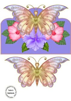 Butterfly beauty on Craftsuprint designed by Gail Collins - a stunning over the edge topper with hibiscus and a glass butterflyi have left it blank so it can be used for any occasion - Now available for download!