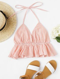 Shop Striped Ruffle Hem Halter Top at ROMWE, discover more fashion styles online. Cute Fashion, Girl Fashion, Fashion Outfits, Crop Top Outfits, Casual Outfits, Cute Summer Outfits, Cute Outfits, Moda Casual, Bodycon Dress With Sleeves
