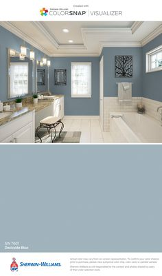 I got this color with ColorSnap® Visualizer for iPhone from Sherwin-Williams . - I found this color with ColorSnap® Visualizer for iPhone from Sherwin-Williams: S … # - Blue Paint Colors, Kitchen Paint Colors, Bedroom Paint Colors, Bedroom Color Schemes, Interior Paint Colors, Paint Colors For Home, Bathroom Colors, House Colors, Paint Bathroom