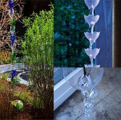 18 Creative DIY Rain Chains That You Can Make For Your Garden - World inside pictures Rain Chain Diy, Rain Chains, Diy Garden Projects, Garden Crafts, Garden Ideas, Backyard Ideas, Suncatcher, Outdoor Crafts, Outdoor Stuff