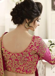 Discover thousands of images about Buy Prachi Desai Art Silk Patch Border Work Designer Saree : 61374 - Wedding Saree Blouse Designs, Pattu Saree Blouse Designs, Fancy Blouse Designs, Dress Neck Designs, Pink Saree Blouse, Prachi Desai, Work Blouse, Hand Embroidery, Embroidery Designs