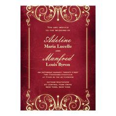 Nouveau Victorian: Red & Gold Wedding Invitations   Keywords: #redandgoldweddings #jevelweddingplanning Follow Us: www.jevelweddingplanning.com  www.facebook.com/jevelweddingplanning/