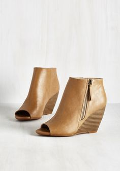 Kick and Choose Bootie in Tan by BC Footwear - Tan, Solid, Fall, Better, Wedge, Peep Toe, Ankle, Variation