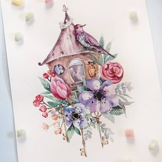 Watercolor bird and birdhouse