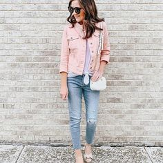 Pink Denim Jacket, Blue Jeans, White Jeans, Female Fashion, Girl Fashion, Spring Summer Fashion, Spring Outfits, Las Vegas Fashion, Blogger Style
