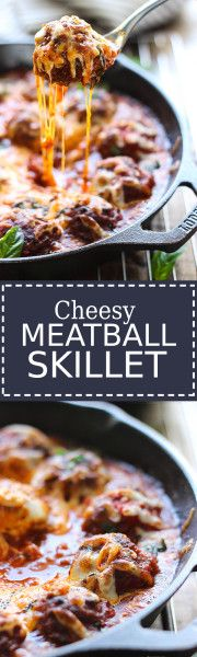 This cheesy meatball skillet has so many ways to be enjoyed! Pop them in a sub or mix them with pasta, or have them with some bread! Meatball Recipes, Meat Recipes, Crockpot Recipes, Dinner Recipes, Cooking Recipes, Cod Recipes, Venison Recipes, Carrot Recipes, Spinach Recipes