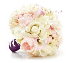 Bridal Bouquet Real Touch Peonies Calla by SongsFromTheGarden
