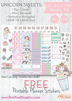 Free Printable Unicorn Sweets Planner Stickers {subscription required}. These free kits will fit just about any planner. See more at www.pinkpixelgraphics.com