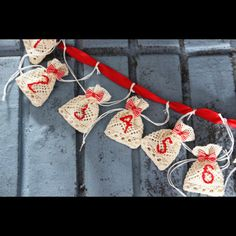 Advent Calendar 24 Lace Pouches by Protea Design modern holiday decorations