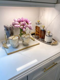Marble Tray, White Marble, Coffee Station Kitchen, Coffee Bar Home, Pink Dining Rooms, Chic Apartment Decor, Coffee Area, Mirror Tray, Glass Canisters