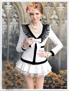 Morpheus Boutique  - White Black Ruffle Lady Shoulder Bow Long Sleeve Jacket