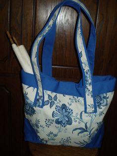 Bright Blue Jacobean Print Tote Bag. $80.00, via Etsy.