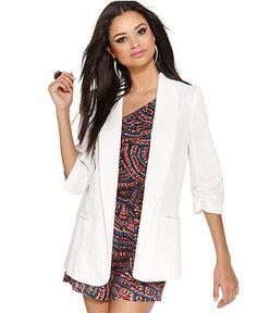 Bar III Jacket, V Neck Three Quarter Ruched Open Front Blazer - Womens Jackets & Blazers - Macy's