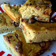 CHOCOLATE CHIP BLONDIES Recipe Desserts with chickpeas, bananas, egg whites, honey, sweetener, peanut butter, chocolate chips, baking powder, vanilla extract