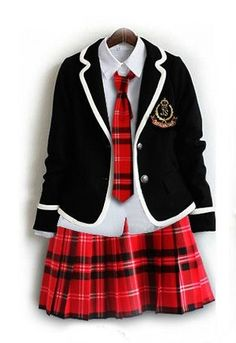 Japanese School Girl Uniform Red Tartan Dress Black Tie Costume Surcoat Cosplay