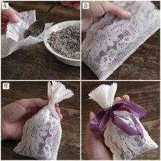 Tutorial: 5 Minute, No-Sew Lace Lavender Sachets – Smile Mercantile Craft Co. Lavender Wands, Lavender Crafts, Lavender Sachets, Craft Gifts, Diy Gifts, Sachet Bags, Pot Pourri, Kirigami, Diy And Crafts
