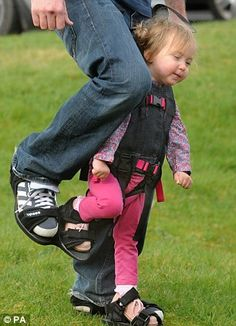 A disabled child can then walk in step with their parent, as demonstrated by Charlotte and Cameron
