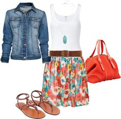 Floral Skirt and Jean Jacket :)
