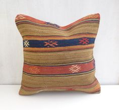 Rustic kilim pillow cover with stripes
