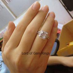 Wedding Ring Sets!Cushion 7mm Morganite Diamonds Engagement Ring,14K White Gold